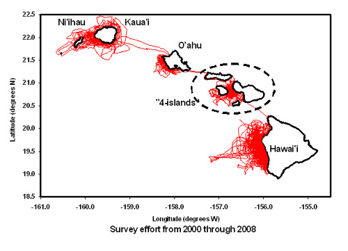 Map of the main Hawaiian islands showing search effort from 2000-2008